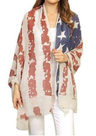 American Flag Printed Scarf