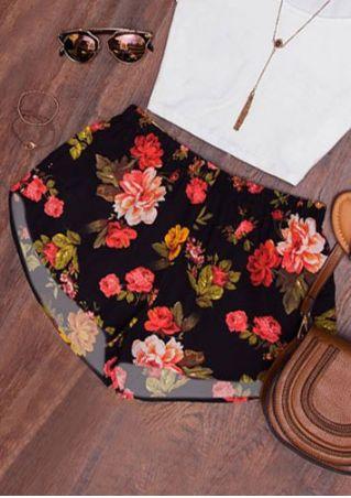 Floral Elastic Waist Shorts