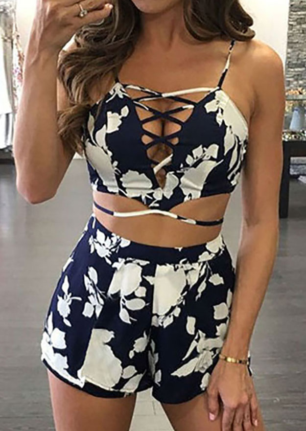 Printed Criss Cross Crop Top And Shorts Set Bellelily