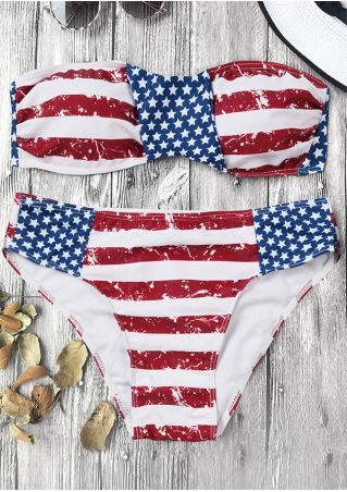 American Flag Printed Bikini Set