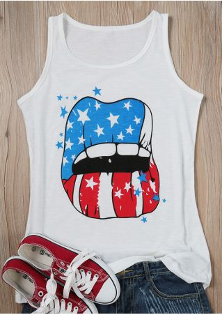American Flag Printed Lip Tank
