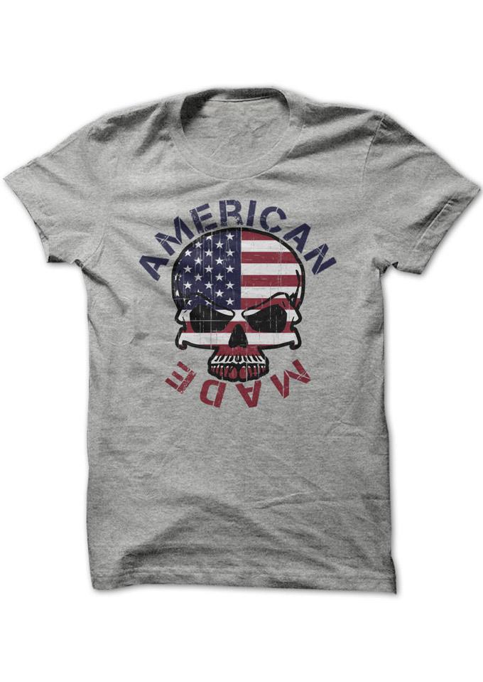 American Made Skull American Flag Printed T-Shirt 31555