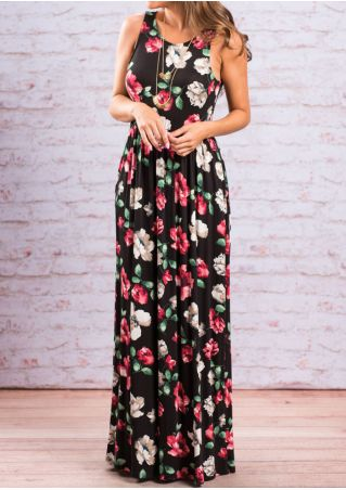 Floral Pocket Maxi Dress without Necklace