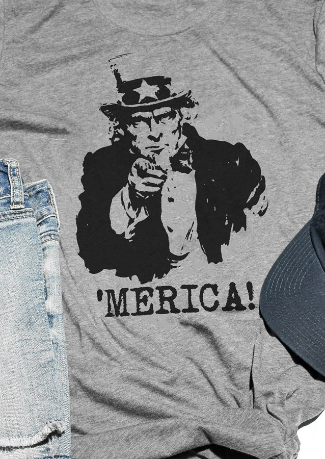 'Merica Lincoln Printed O-Neck T-Shirt
