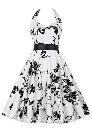 Floral Halter Mini Dress with Belt