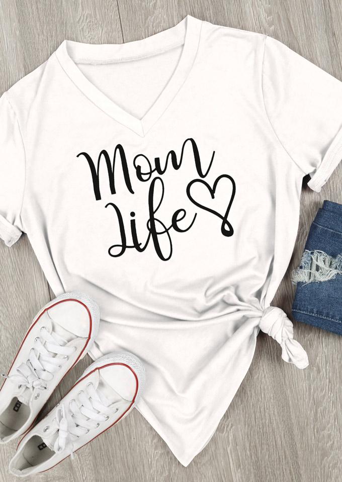 37153b945963 Mom Life Heart V-Neck T-Shirt - Bellelily