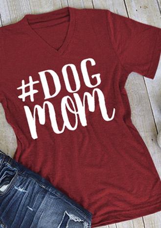 Dog Mom V Neck Casaul T Shirt Bellelily