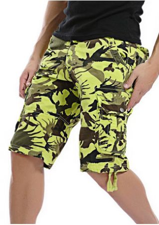 Camouflage Printed Pocket Cargo Shorts without Belt