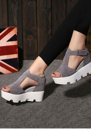 Solid Buckle Velcro Wedge Sandals