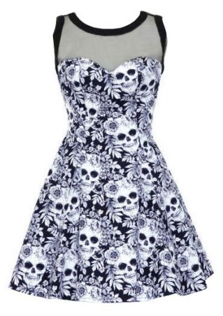 Gothic Floral Skull Mesh Splicing Mini Dress