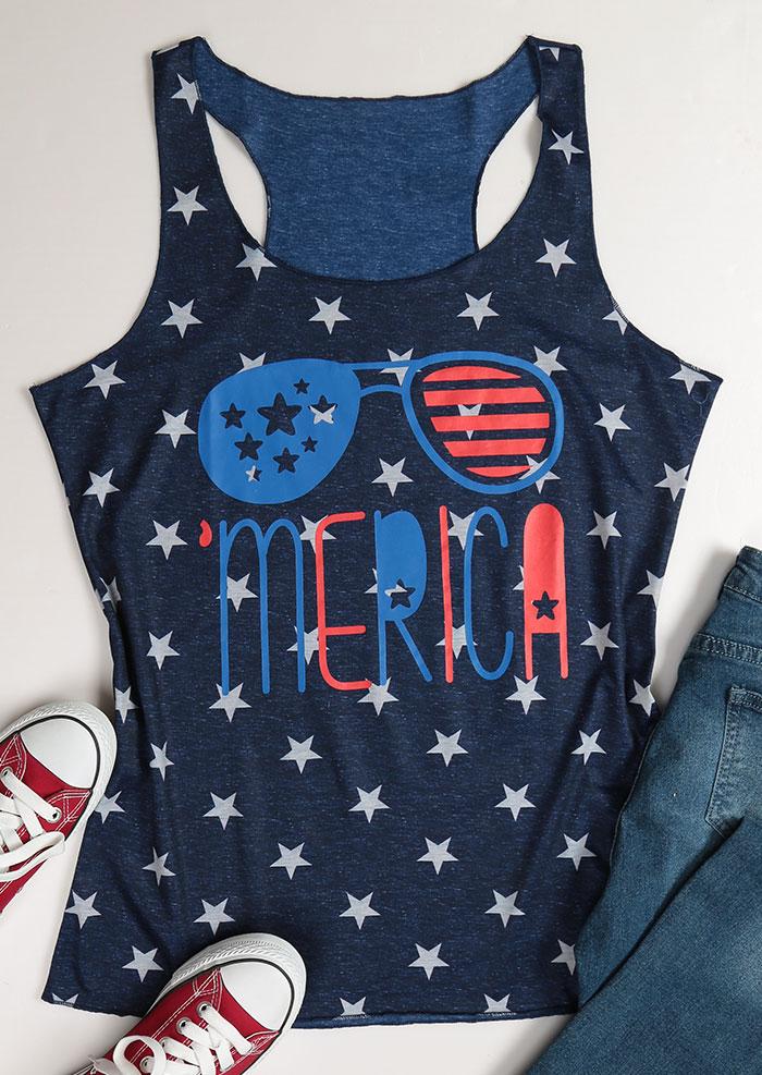 'Merica American Flag Printed Glasses Tank