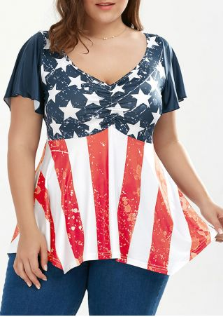 American Flag Star Asymmetric Blouse without Necklace