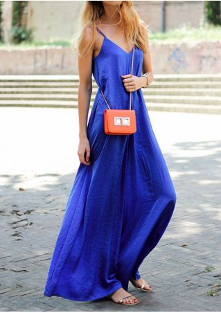 Solid Spaghetti Strap Wide Leg Jumpsuit without Necklace