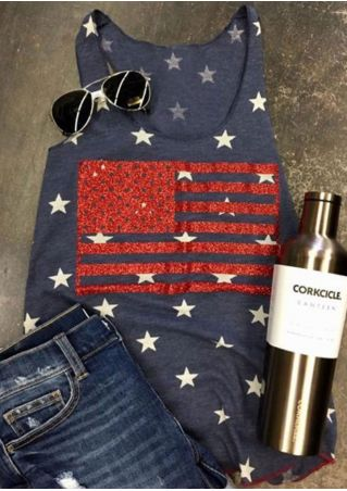 American Flag Printed Star O-Neck Tank