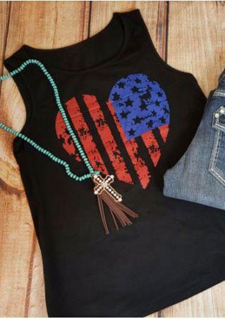 American Flag Printed Heart Tank