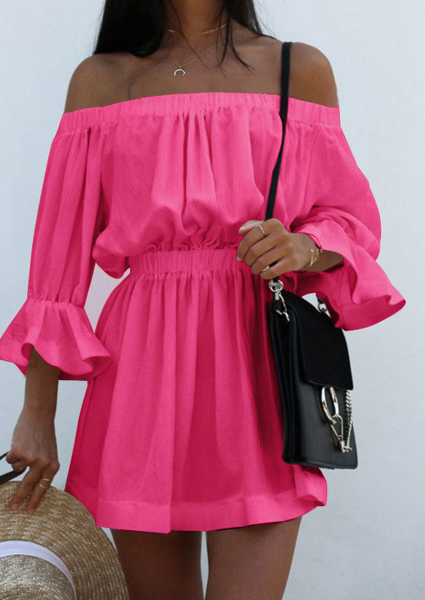e298aef00c3f Solid Off Shoulder Ruffled Mini Dress without Necklace - Bellelily