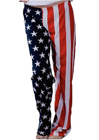 American Flag Printed Elastic Waist Pants