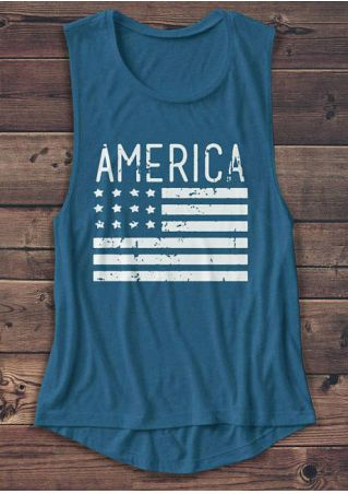 America American Flag O-Neck Tank