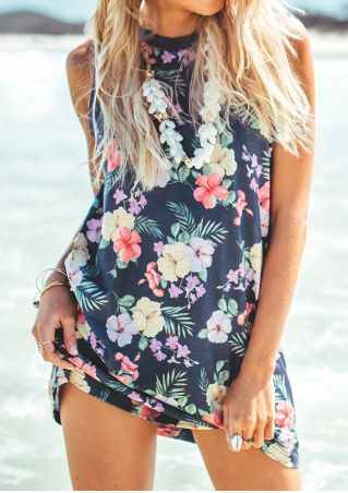 Floral Sleeveless Mini Dress without Necklace