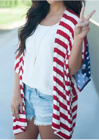 American Flag Printed Cardigan without Necklace