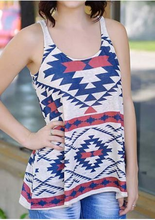 Geometric Printed O-Neck Casual Tank