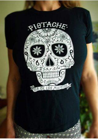 Floral Skull Pistache T-Shirt