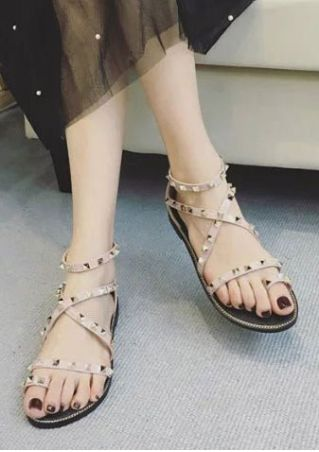 Rivet Ankle Strap Flat Sandals