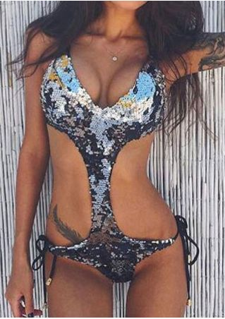 Sequined Halter Swimsuit without Necklace