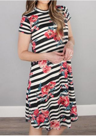 Striped Floral Short Sleeve Casual Dress