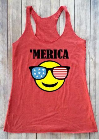 'Merica American Flag Glasses Tank