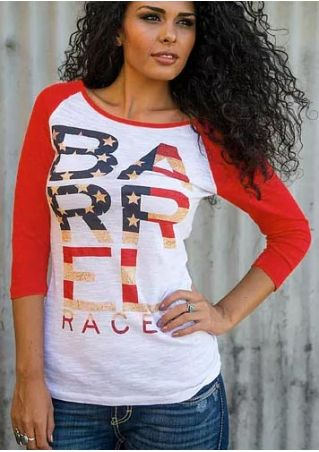 Barrel Racer American Flag Baseball T-Shirt