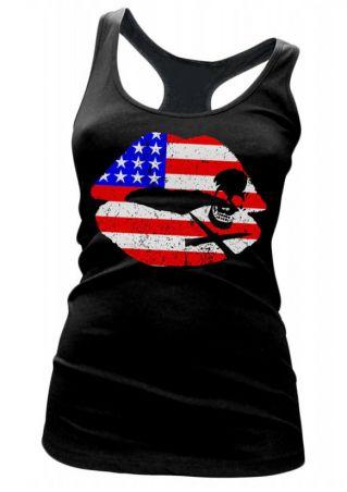American Flag Lip Skull Printed Tank