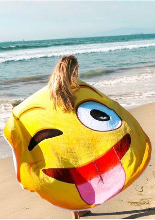 Emotion Printed Round Beach Blanket
