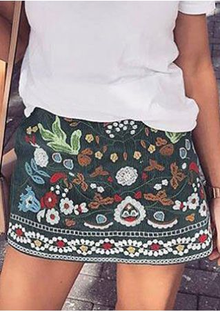 Floral Printed Skirt without Necklace