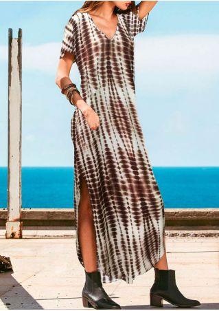 Printed Slit V-Neck Maxi Dress