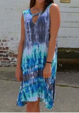 Tie Dye Sleeveless Hole Mini Dress without Necklace