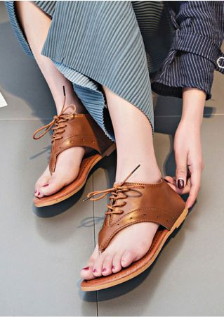Summer Solid Lace Up Flat Sandals