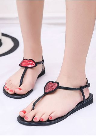 Heart Buckle Strap Flat Sandals