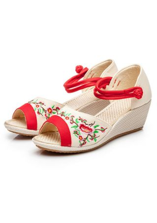 Embroidery Floral Wedge Sandals