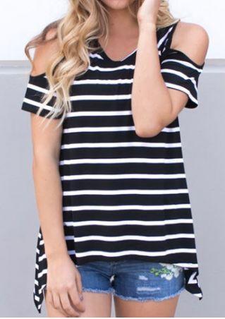 Striped Cold Shoulder V-Neck Blouse