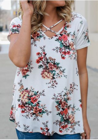 Floral Criss-Cross V-Neck Blouse