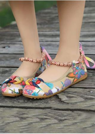 Floral Ring Beading Round Toe Flats