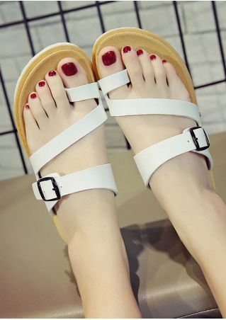 Summer Solid Buckle Strap Flat Sandals