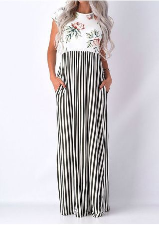 Floral Striped Splicing Maxi Dress
