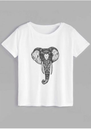 Elephant O-Neck Short Sleeve T-Shirt