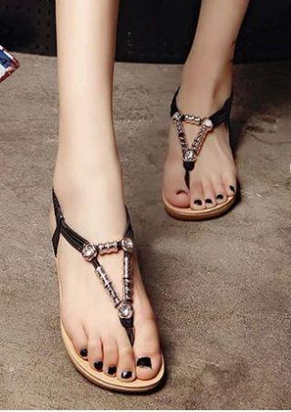 Embellishment Elastic Band Flat Sandals