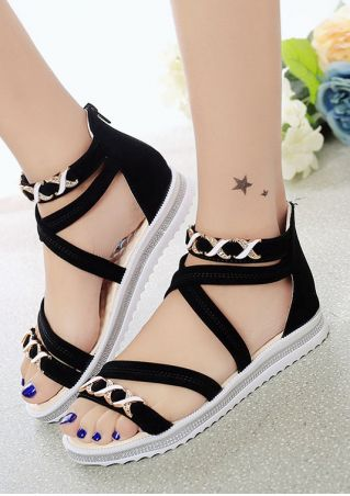 Cross Zipper Flat Sandals