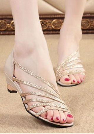 Summer Solid Heeled Sandals