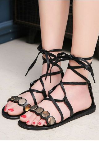 Embellishment Ankle-Wrap Flat Sandals