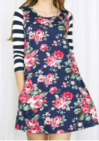 Floral Striped Splicing O-Neck Mini Dress